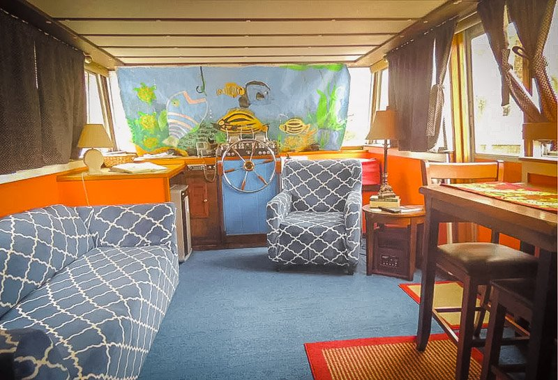 Cozy interior furnishings on the boat.