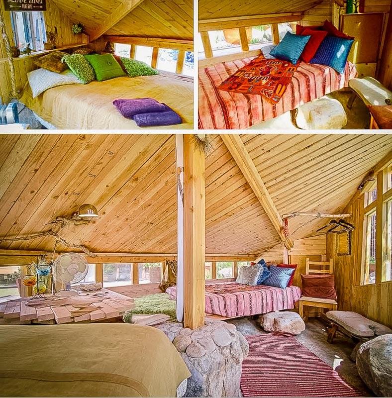 Cozy bedroom inside the hobbit hole vacation rental.