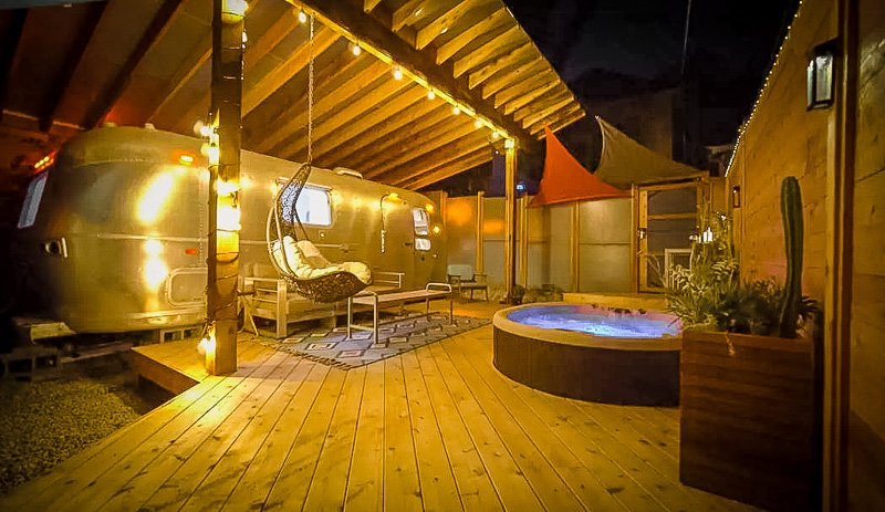 Outdoor deck with a hot tub