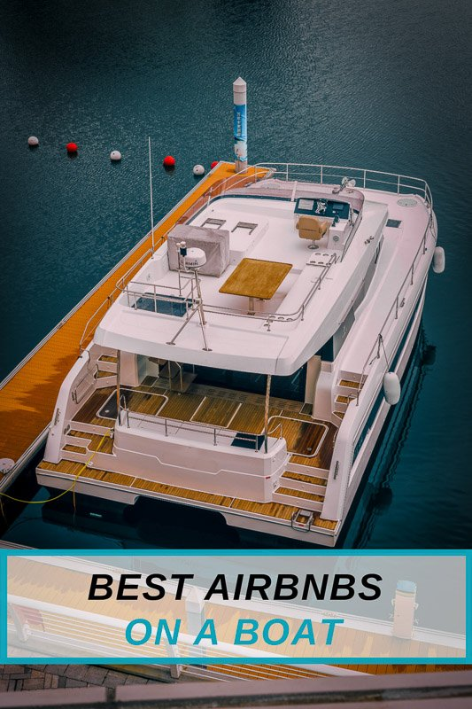 Top Airbnbs on a boat including yachts and houseboats in the USA Pinterest Image