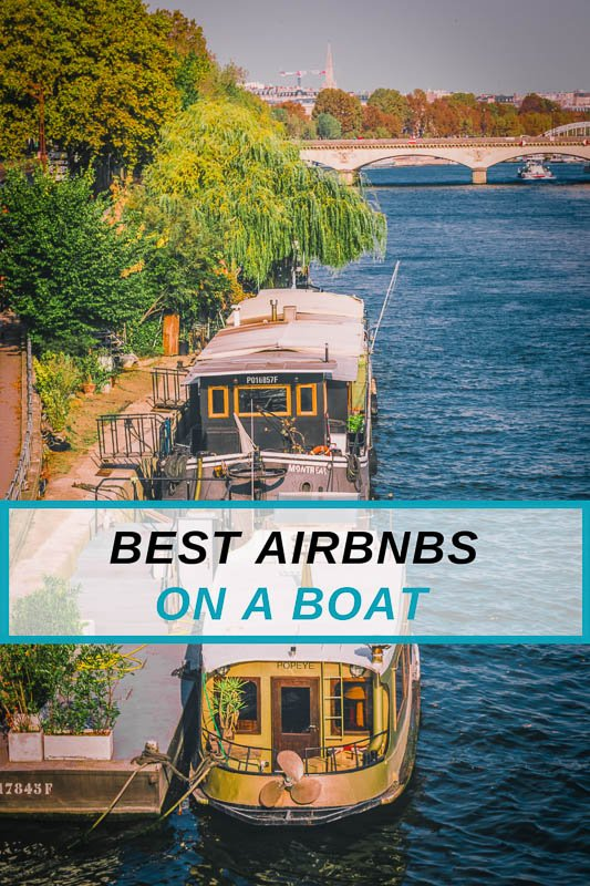 Best Airbnb houseboats and yachts on a boat pinterest pin photo