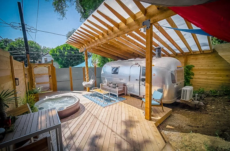 Modern airstream Airbnb rental in the heart of the Midwest.
