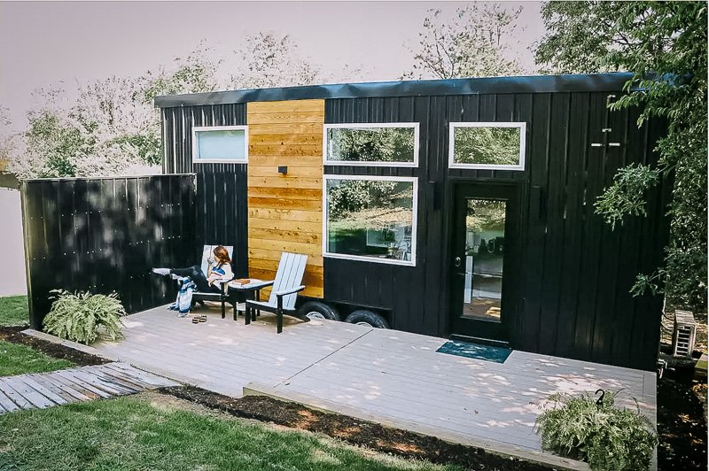 A tiny house in Ohio with sauna