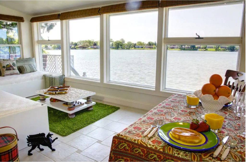 This lakefront vacation rental in Rochester, Michigan offers unparalleled view