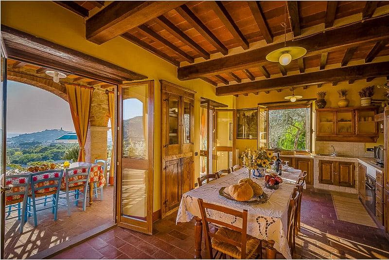 Open kitchen facing the outdoor terrace