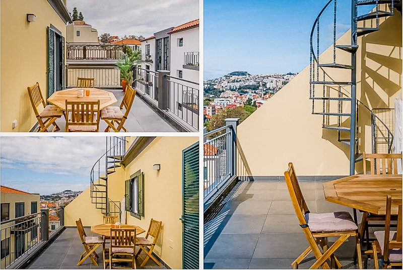 Rooftop lounge area at the vacation rental in Madeira