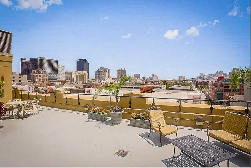 Rooftop patio with views of New Orleans
