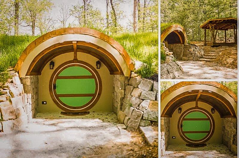 A tiny hobbit house that looks like it's in the Shire