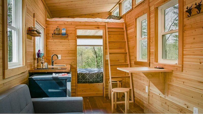 Elegant wooden interior furnishings
