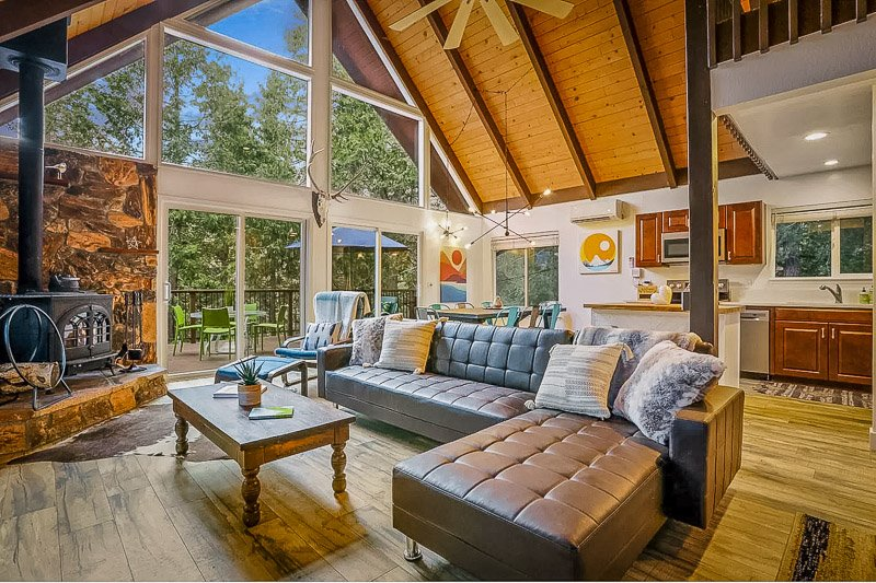 Spacious living room and back deck.