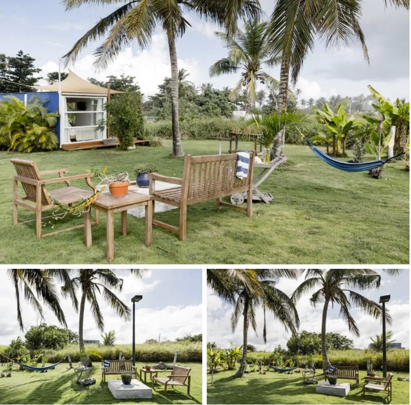 Beautiful outdoor space filled with tropical-themed furniture and hammocks