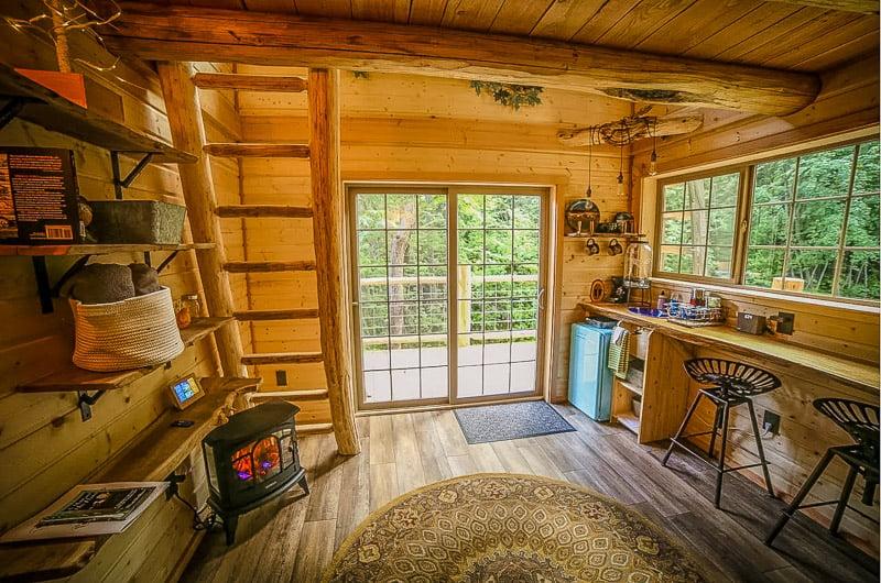 Rustic custom-built log cabin interior
