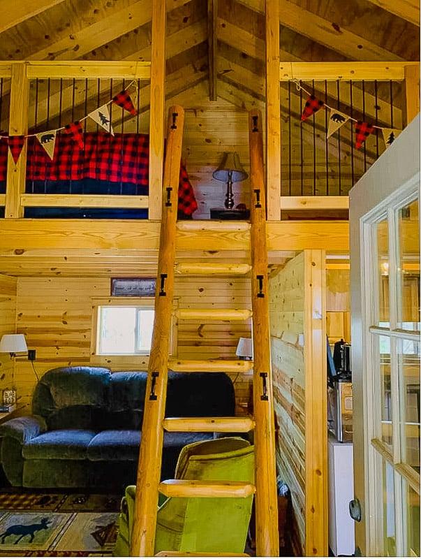 Rustic interior cabin and loft area