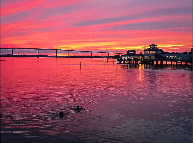 Gorgeous sunset views from the tiny house on the pier.