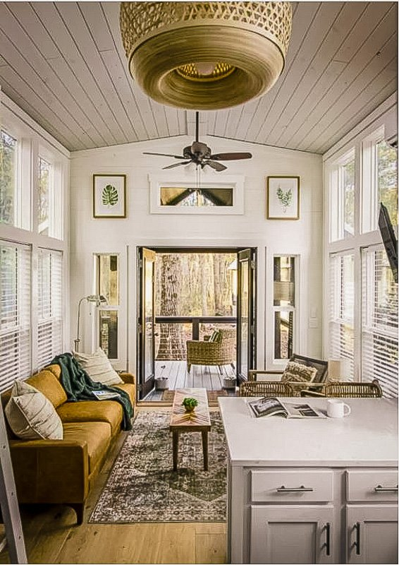 Beautiful living room inside the tiny house vacation rental
