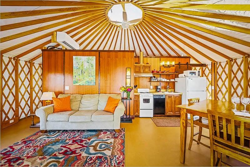 Gorgeous interior décor inside the yurt