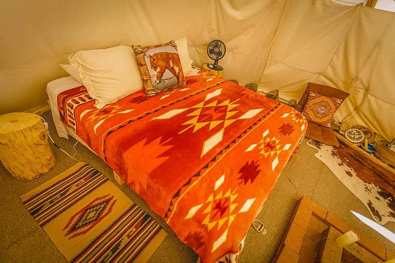 Cozy bedroom inside the tipi