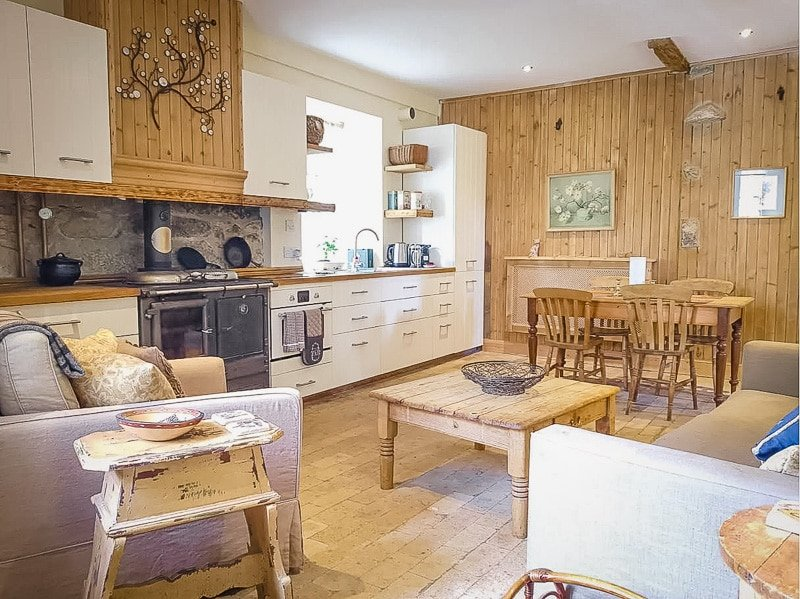 Rustic kitchen and living room area