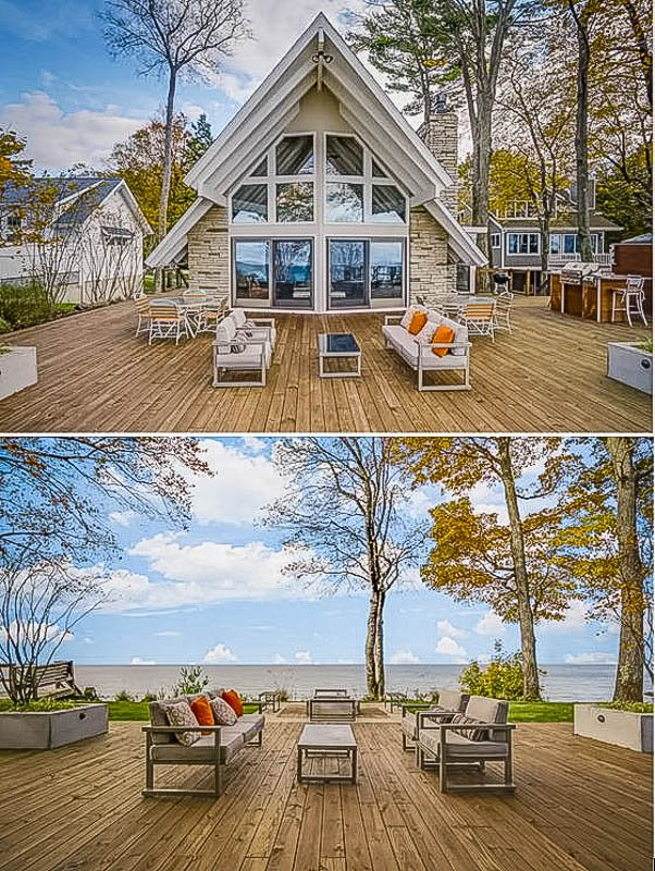 Gorgeous views of the lake from the A-Frame vacation rental.