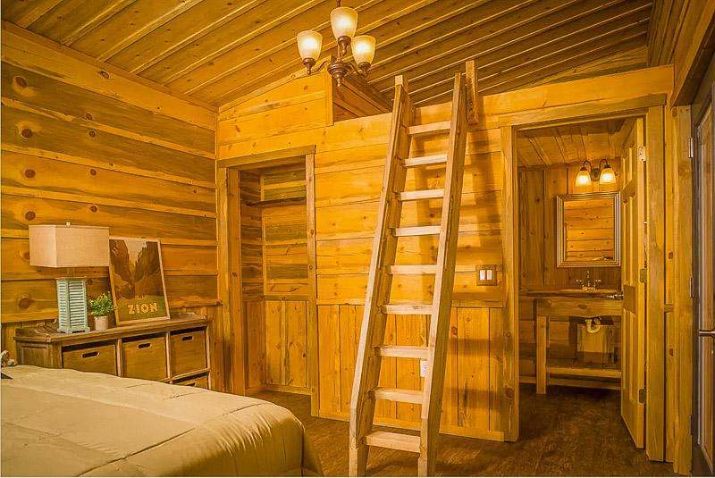 Log cabin interior décor