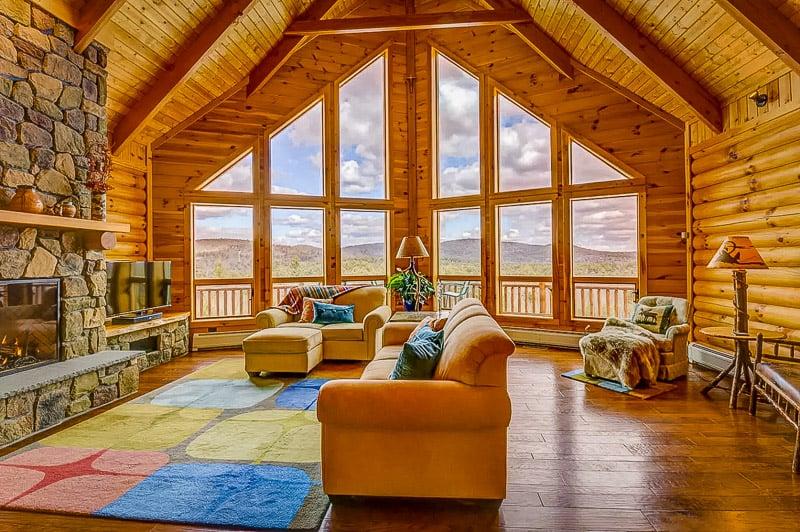 Elegant living room with mountain vistas