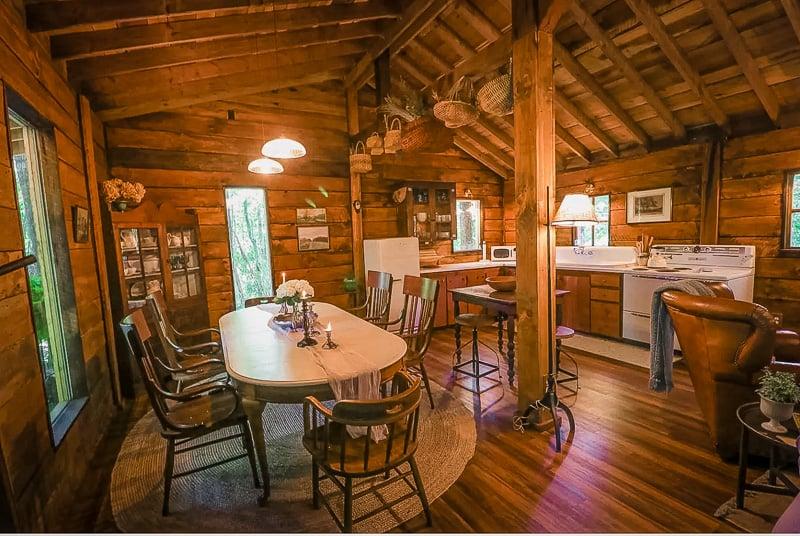 Rustic log cabin décor
