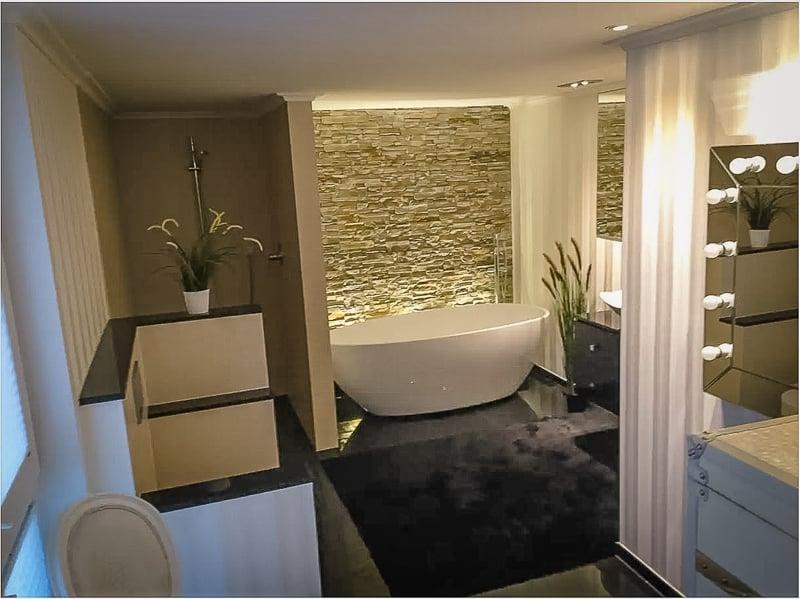 Modern bathroom with a soaking tub