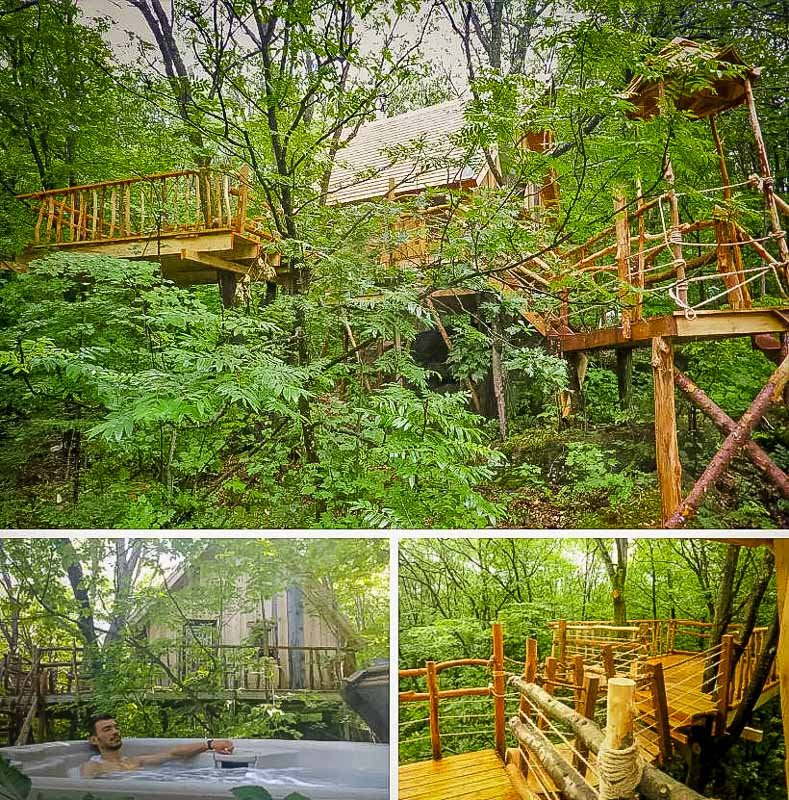 Airbnb treehouse in Canada with a hot tub