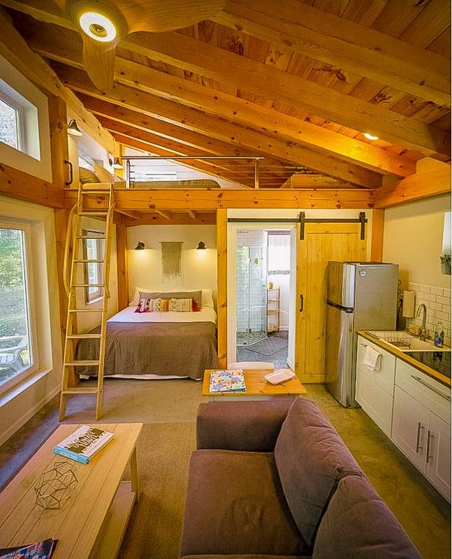 Rustic living room and bedroom loft.
