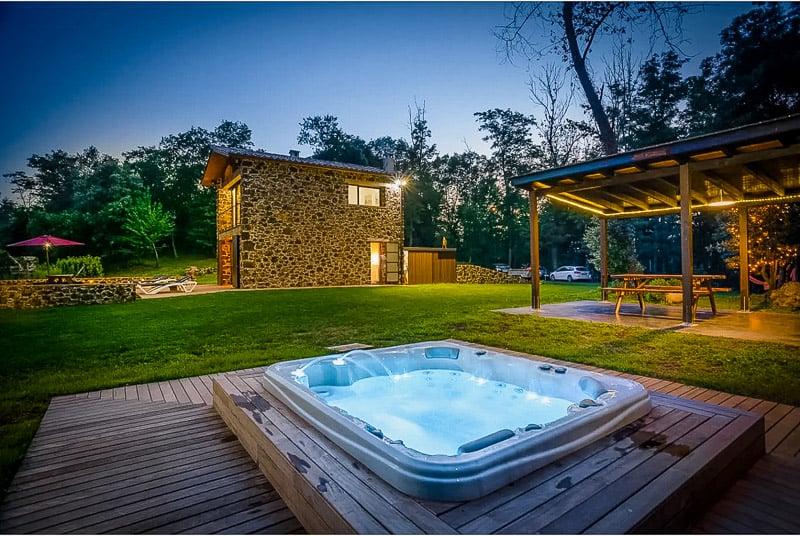 Hot tub at the Spain Airbnb villa.