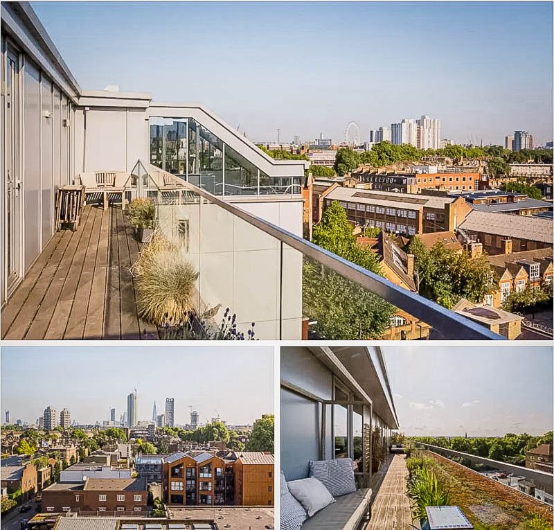 Penthouse with balcony overlooking the London skyline