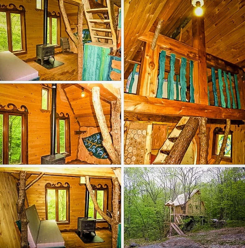 Treehouse rental in the middle of the woods of Canada.