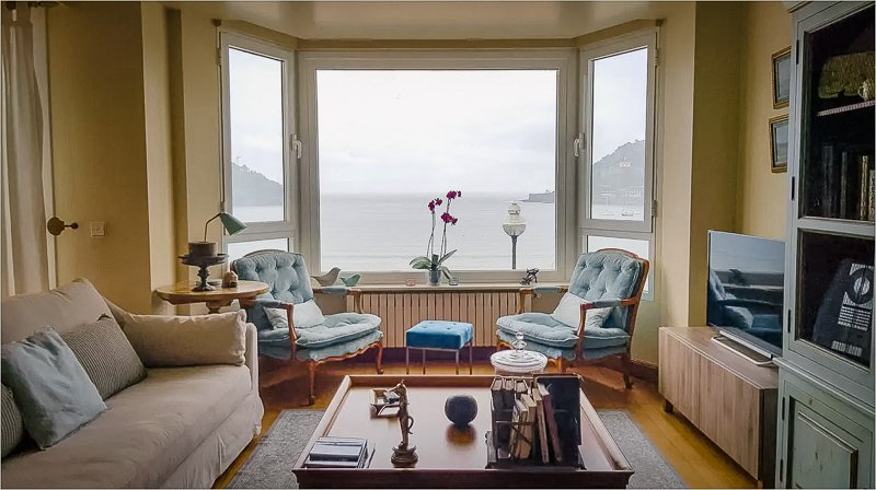 Stunning views of the waterfront from the living room window