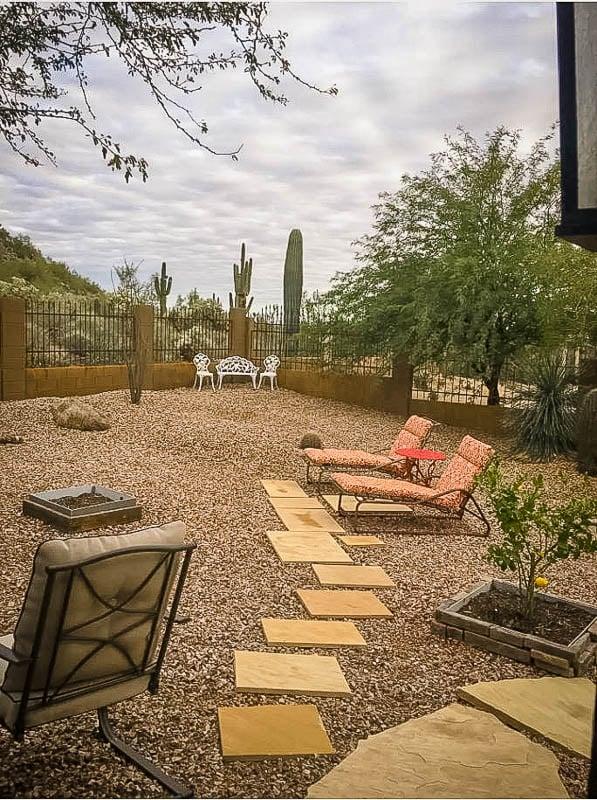 Outdoor seating area overlooking the desert landscape