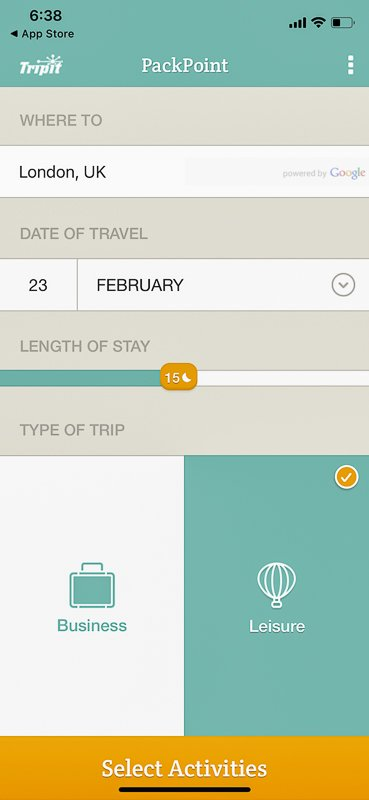 One of the best International travel apps for packing