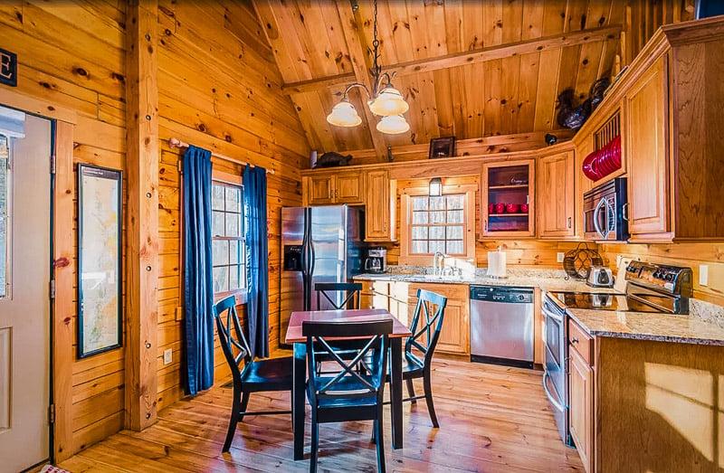 Rustic log cabin decor.