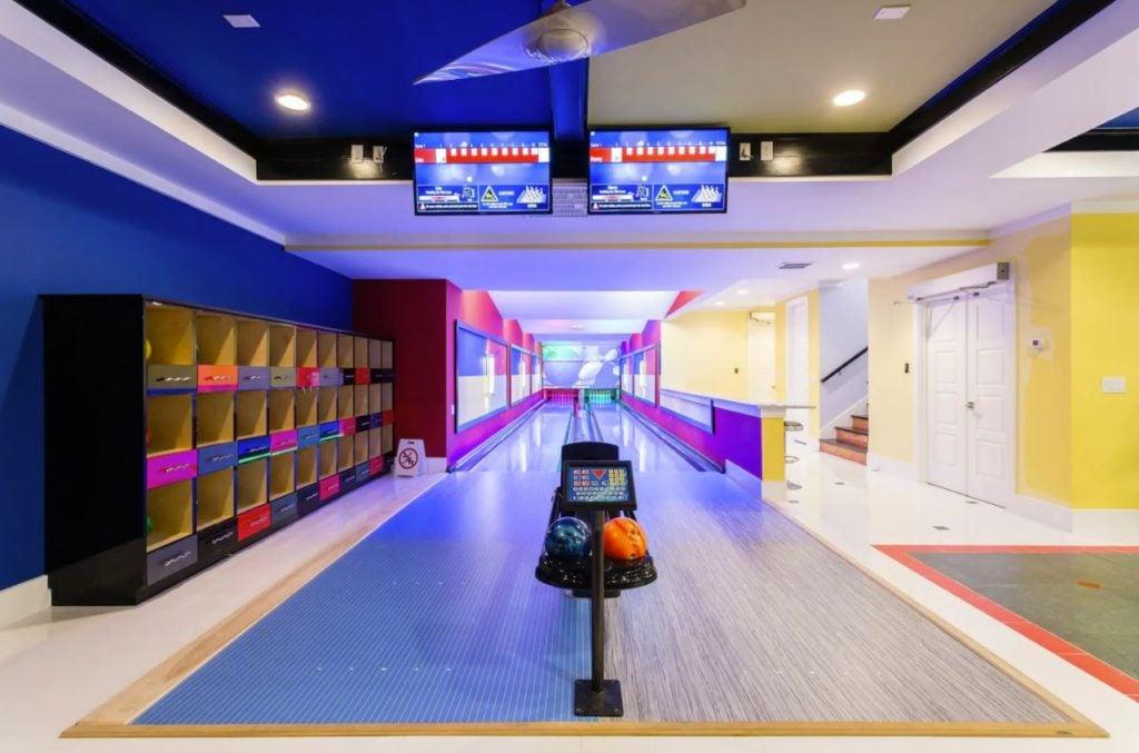 Two-lane bowling alley inside the villa rental