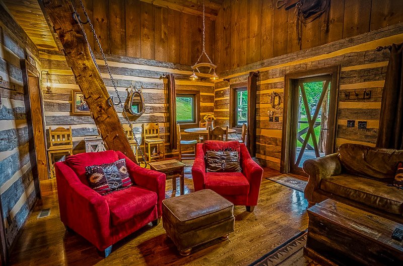 Interior of the rustic log cabin rental in WV