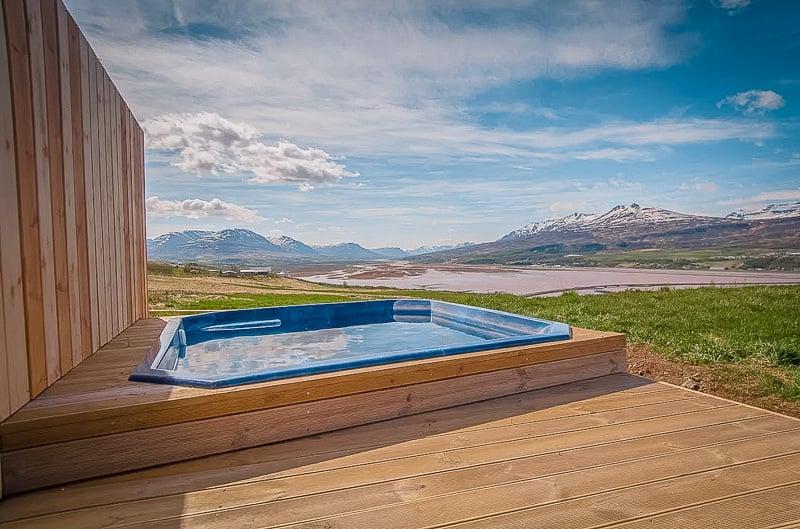 This Icelandic rental accommodation has a hot tub