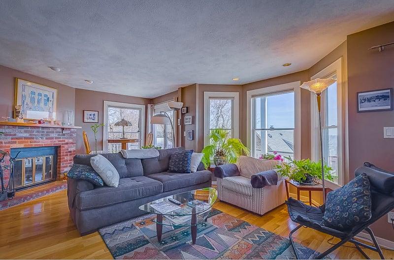 Elegant living space with ocean views