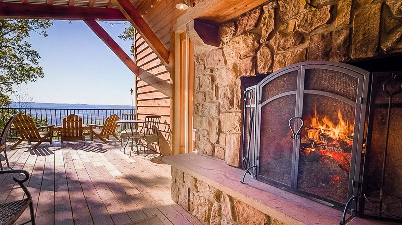 Outdoor fireplace with a view.
