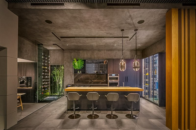 Indoor bar area for entertaining guests.