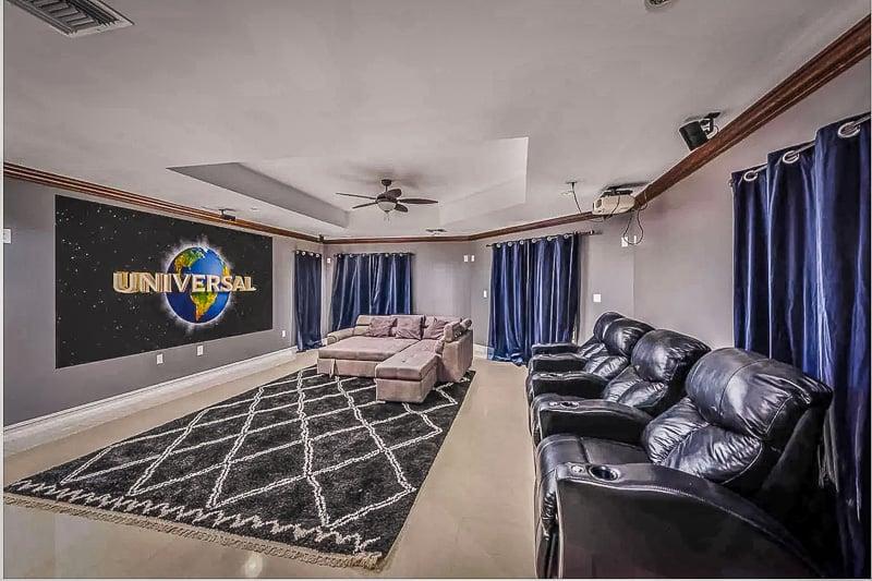 Indoor home movie theater