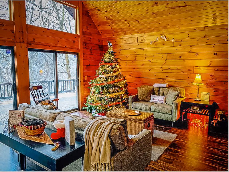 Cozy log cabin decor and furniture