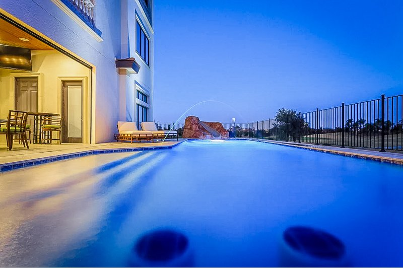 Outdoor pool with water features