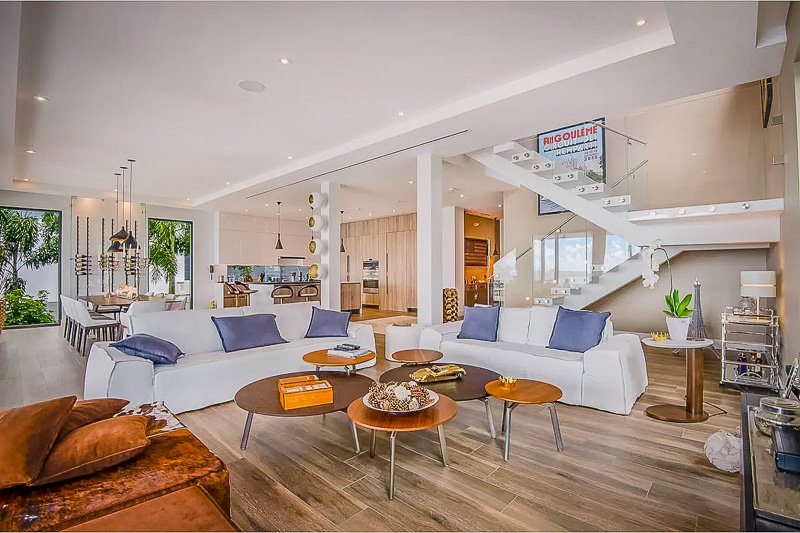 The spacious living room inside the luxury Miami villa for rent.