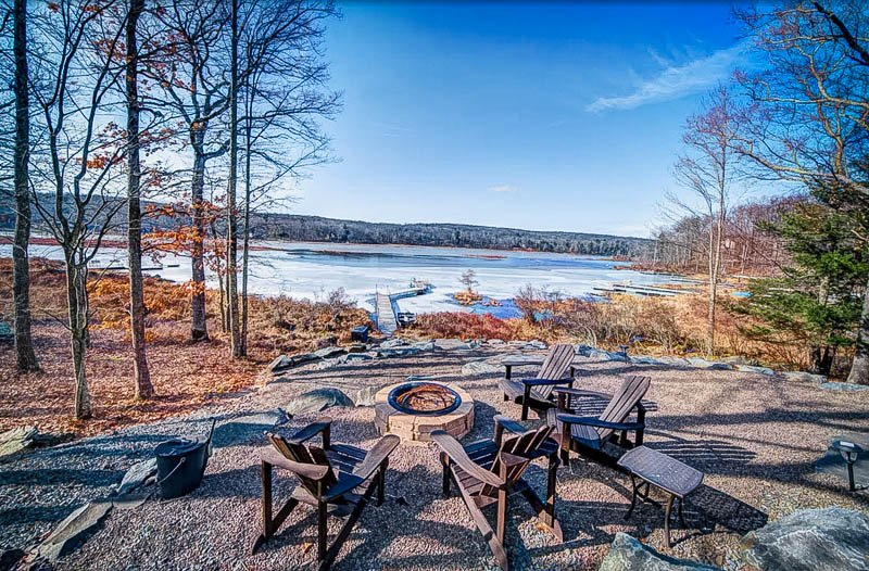 Fire pit with waterfront views