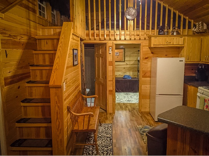 Rustic log cabin living space
