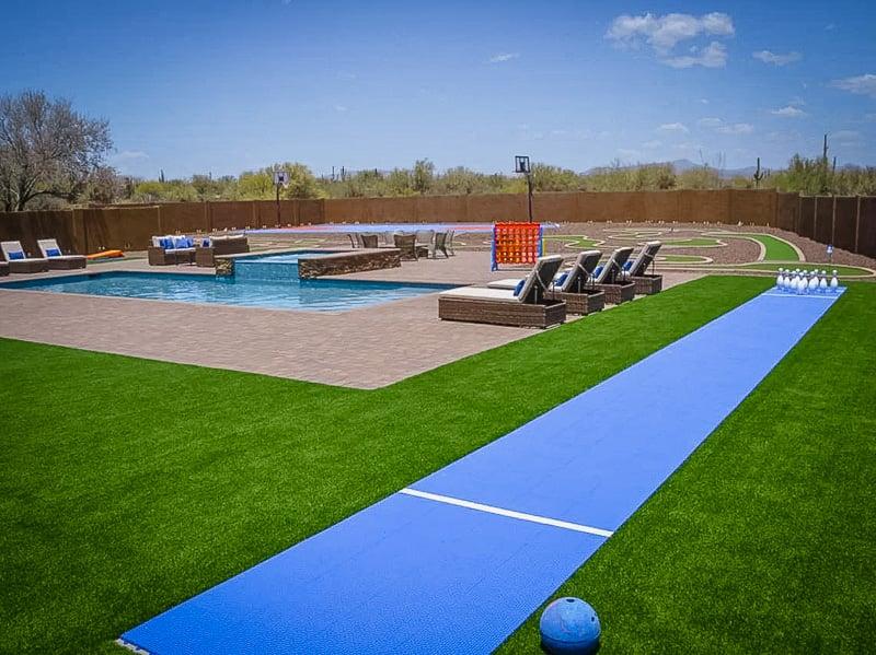 Backyard gaming recreational area