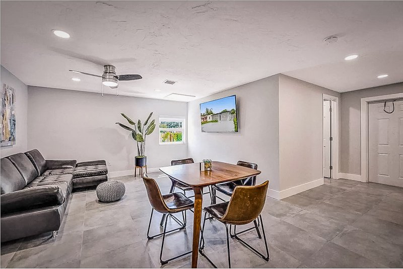 Modern and elegant interior living space with an open-concept design. One of the most unique Airbnbs in Florida